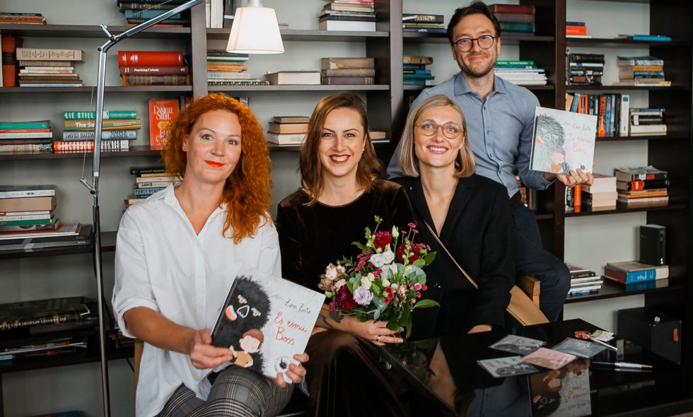 From left: Gunita Kleinberga, specialist in cognitive behavioral psychotherapy, Zene Zusta, author of the book, Krista Miltiņa, artist, Nikita Bezborodov, child psychiatrist.