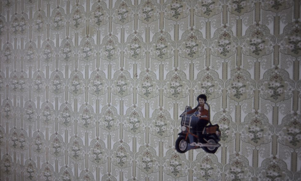 Soviet-era wallpaper on a communal flat wall