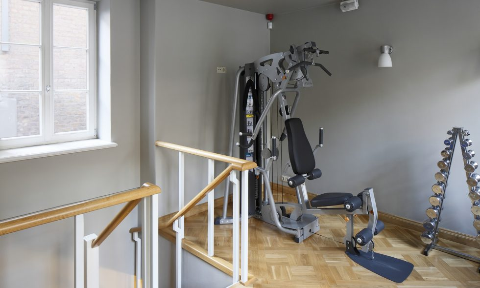 Naturally-lit small gym offers two different units of fitness equipment