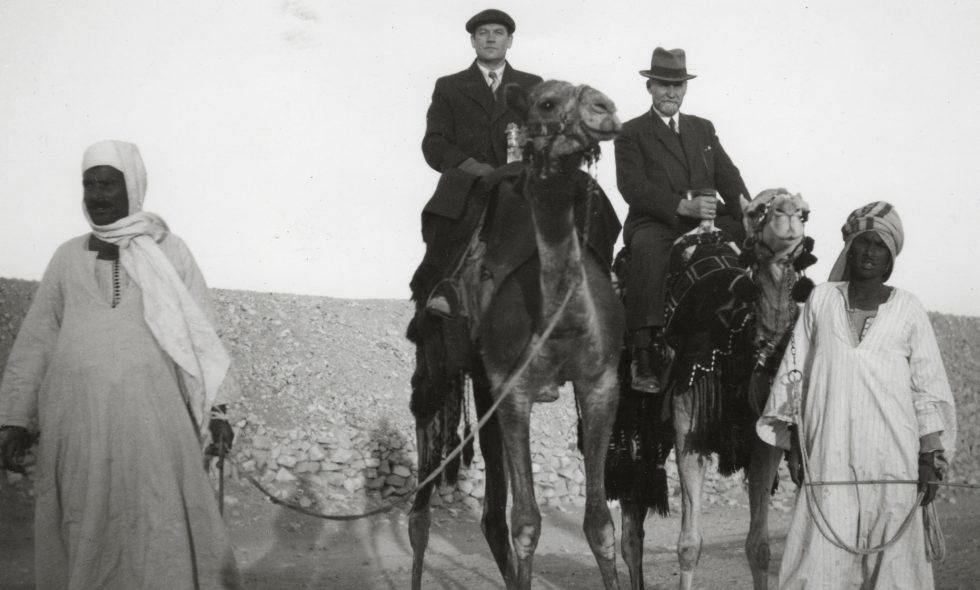 Ludvigs Neiburgs riding a camel during a trip to Egypt in the 1930s.