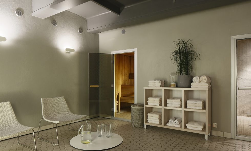The Hotel Neiburgs spa centre features a steam bath and sauna and pleasant lighting